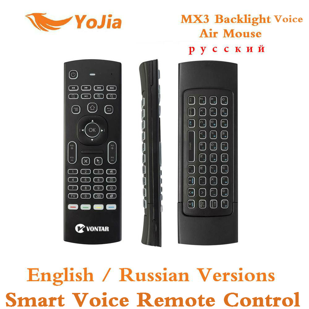 MX3 Fly Air Mouse Russian English Backlit MX3 Pro Smart Voice Remote Control IR Learning 2.4G Wireless Keyboard For Android Box