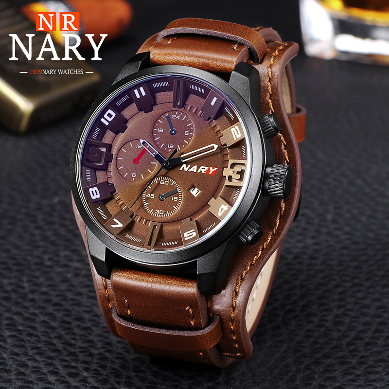 NARY Top Brand Luxury Mens Watch Men Watches Male Casual Quartz Wristwatch Leather Military Waterproof Clocks Sport Clock Gift
