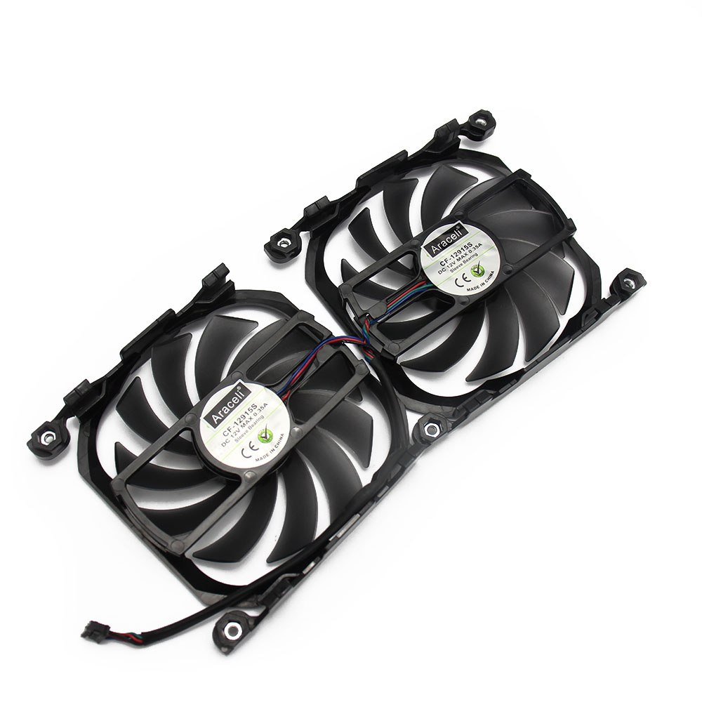 Купить с кэшбэком 2pcs/lot 4Pin CF 12915S GPU Cooler Fan  For INNO3D GTX 1080 Ti 1070 Ti 1060 X2 V2 Graphics Video Cards Cooling as Replacement