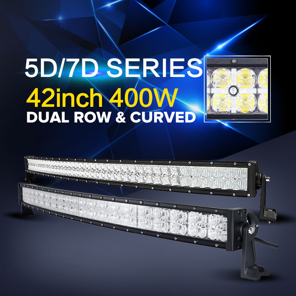 Auxmart 5D/7D 42inch 400w LED light bar Cree Chips curved Offroad combo beam bar light for truck trailer SUV ATV 12v 24v 4x4 4WD auxmart 42inch 400w cree 5d chips led light bar curved offroad combo beam 7inch 60w flood bar light suv atv 12v 24v 4x4 4wd 2wd