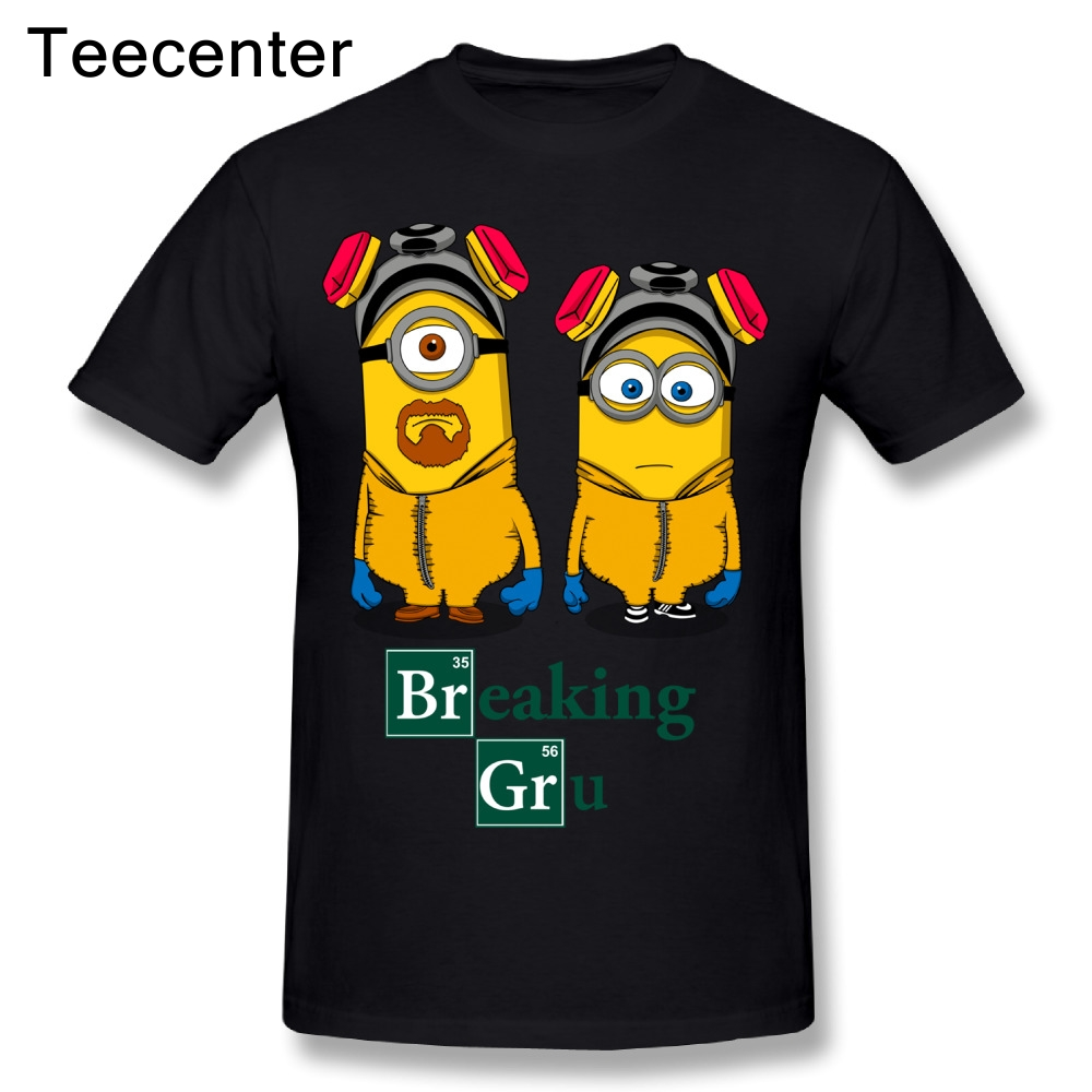 Funny Breaking Bad Minions Cartoon T Shirt Pure Cotton Boy Crewneck Short Sleeve Graphic 3D Print Homme Tee Shirt
