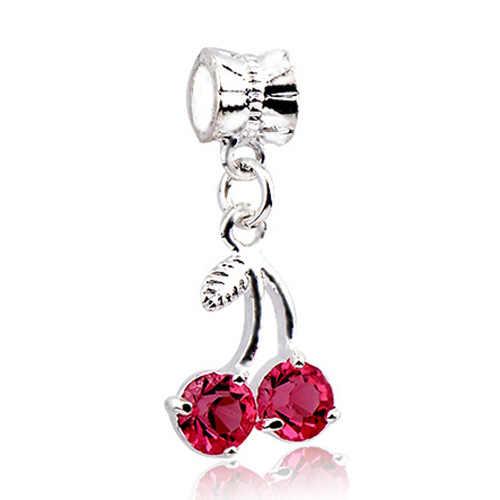 Btuamb Heißer Mode Liebe Herz Elefanten Apple Blume Schneeflocke Kristall Anhänger Perlen Fit Pandora Charme Armband Frauen DIY Schmuck