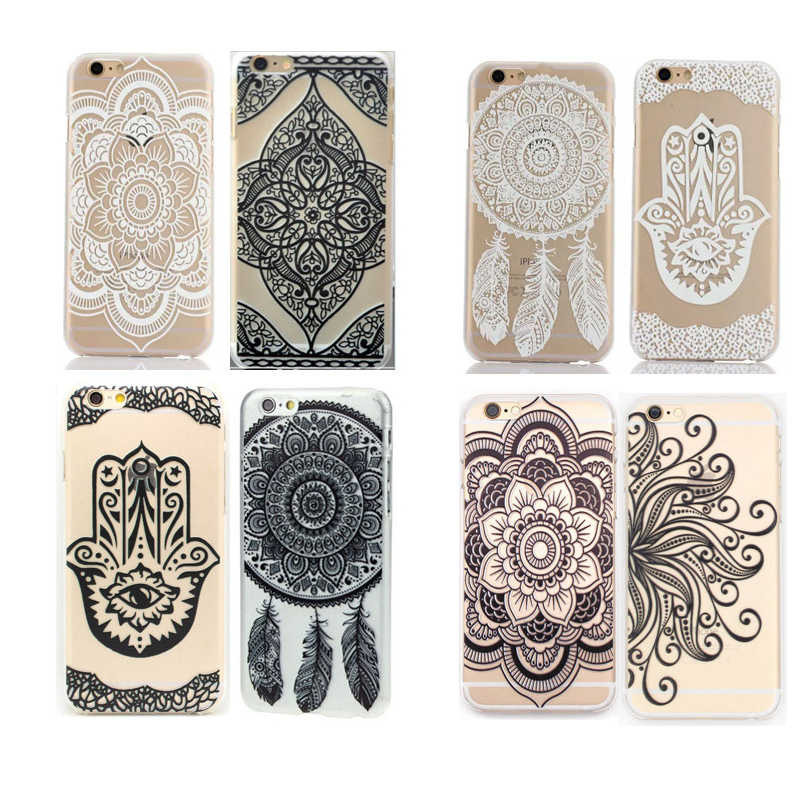2018 Datura Bloem Telefoon Case Soft Tpu Back Cover Voor Iphone X 5 5 s 6 6 s Plus 7 7 plus 8 Plus Mandala Retro Vintage