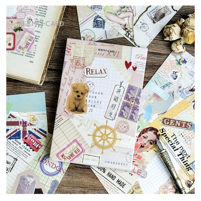 30Sheets/Set Creative Collage Time Postcard/Greeting Card/Message Card/Birthday Letter Envelope Gift Card