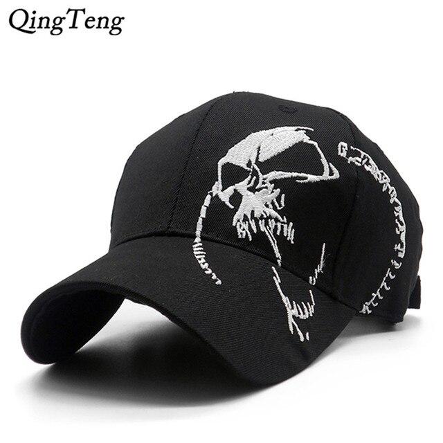 רקום גולגולת כובע עבור גברים כותנה ספורט בייסבול כובעי אופנה שחור דפוס נשים Snapback צבא זכר כובע היפ הופ עצם