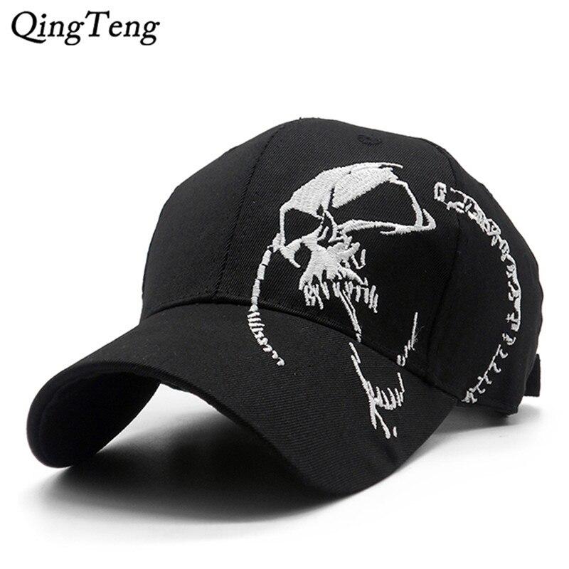 Embroidered Skull Cap For Men Cotton Sports Baseball Caps Fashion Black Pattern Women Snapback Army Male Cap Hip Hop Bone