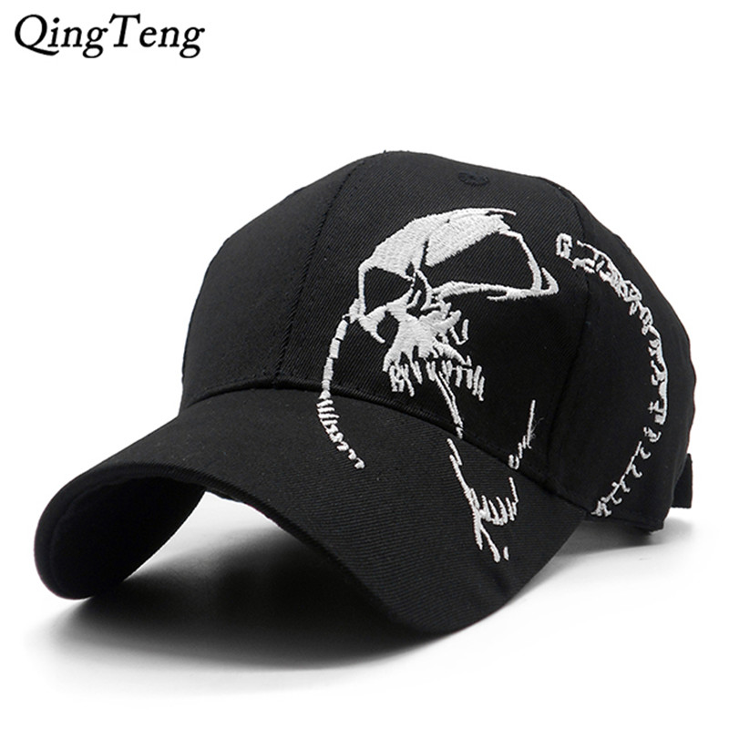 Embroidered Skull   Cap   For Men Cotton Sports   Baseball     Caps   Fashion Black Pattern Women Snapback Army Male   Cap   Hip Hop Bone