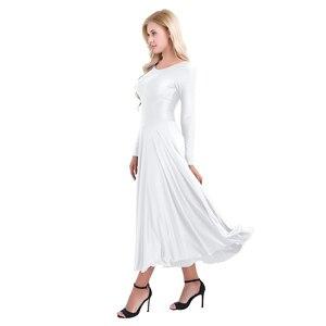 Image 4 - חדש נשים ארוך שרוול מקצועי בלרינה שלב בלט טוטו ריקוד ארוך שמלת Loose Fit עכשווי לירי ריקוד תלבושות