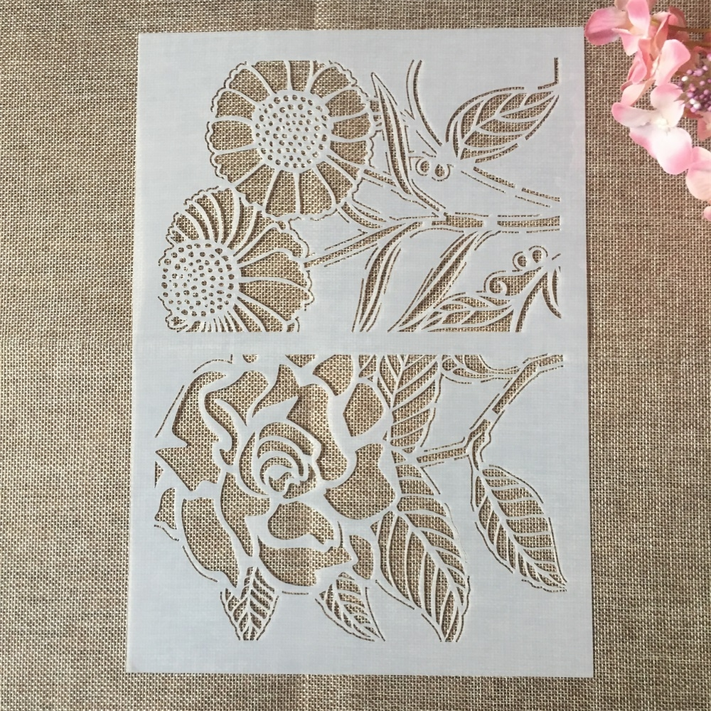 29*21cm A4 Rose Sunflower DIY Layering Stencils Wall Painting Scrapbook Coloring Embossing Album Decorative Paper Card Template