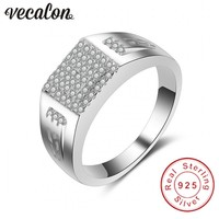 Vecalon Fashion Jewelry Wedding Band Ring For Men Diamonique Cz 925 Sterling Silver Male Engagement Finger