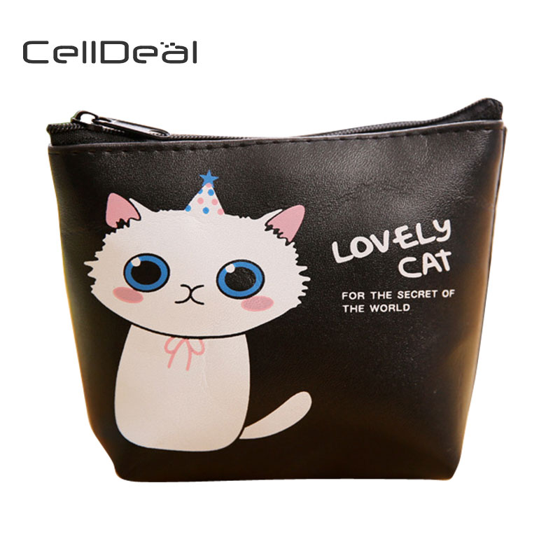 CellDeal Fashion Short Section High Quality PU Purse Cute Cartoon Small Cat Pattern Wallets Collection Key Bag Coin Purse