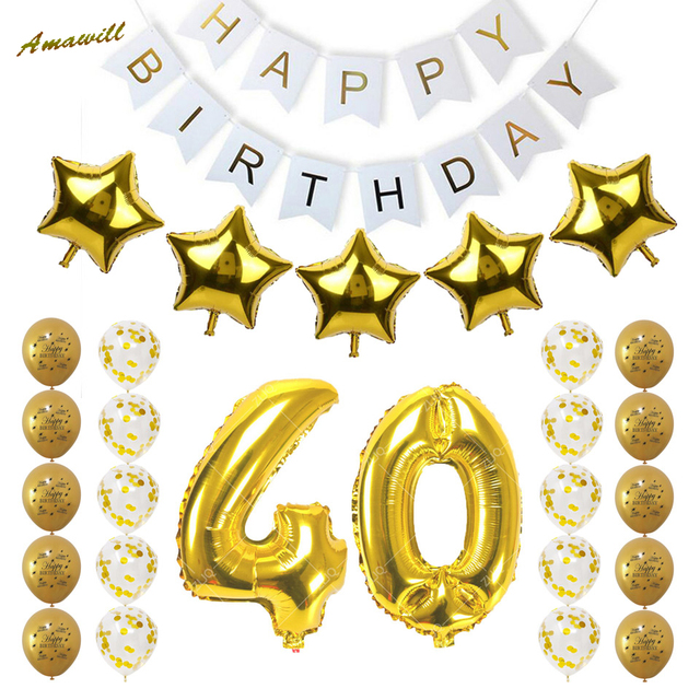 Amawill 40th Birthday Party Decoration Kit Happy Balloons Gold Number 40 Balloon Years Old Supplies 65D