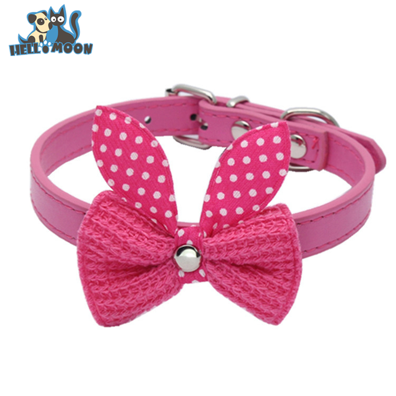 HELLOMOON Best Deal New Good Quality Faux Leather Dog Collar Braided Bowknot Pet Collar Puppy Choker Neck Ring Size XS S