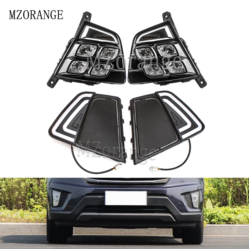 MZORANGE Car Accessories Waterproof ABS LED Daytime Running Light DRL Fog Lamp Decoration For Hyundai Creta