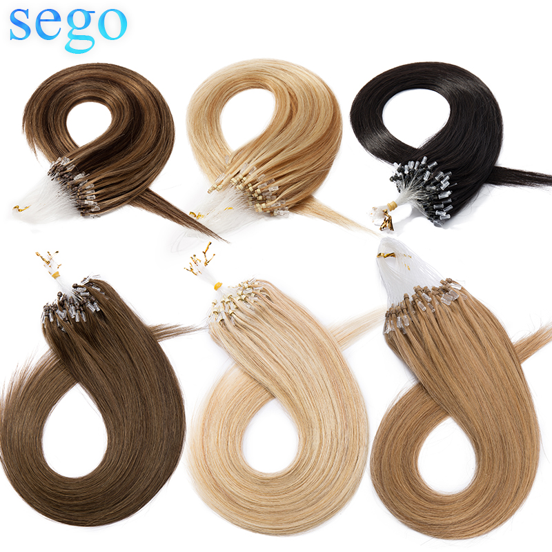 """SEGO 16""""-24"""" 50g Straight Micro Bead Hair Extensions Non-Remy Micro Loop Human Hair Extensions Micro Ring Extensions 0.5G/S 100P"""