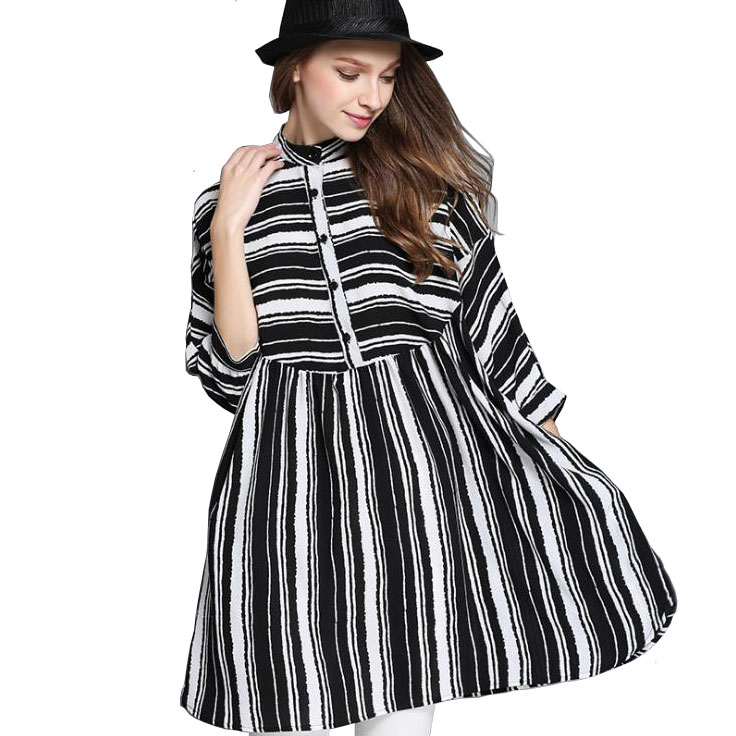 3e0341fcc065 European Ladies Loose Summer Dresses Casual Vestidos Plus Size Lolita Black  And White Striped Dress Batwing Sleeve T Shirt Dress