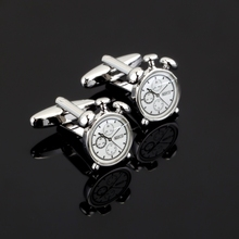 2017 New Arrival Silver Alarm Clock Cufflinks French Shirt Cuffs Trendy Brass Gemelos Cuff links Christmas Gifts Jewelry cheap Tie Clips Cufflinks Fashion Classic HYX-N281 yanjie Round Simulated-pearl Metal Copper