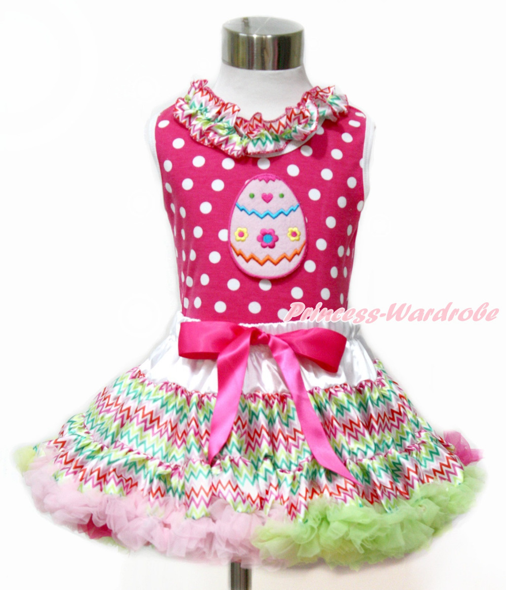 Baby Girl Easter Egg Hot Pink White Dot Top Rainbow Stripe Pettiskirt Set 1-8Y MAMH173 rhinestone happy easter white top shirt hot pink bunny rabbit satin trim baby girl skirt set 1 8y mapsa0494