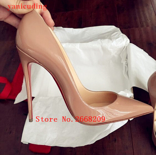 455e7866373 12CM 10CM High Heels Slip On Nude Black Patent Leather Casual Ladies  Stiletto Pumps Pointed Toe Wedding Party Sexy Shoes Woman