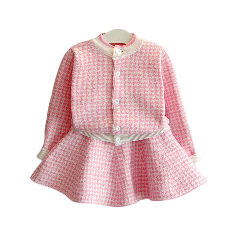 Kids Girls Knitted Cardigan Skirts Sets Pink Black Plaid Tops Skirts 2pcs Sets 2017 Autumn Winter Children Outwear Clothing CS06