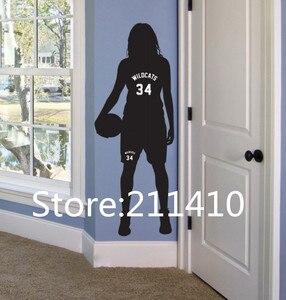 Autocollants muraux personnalisés de basket-ball   Nom et nombre, décor de salle de Sport, Stickers artistiques muraux de basket-ball pour filles, décor de portes pour lunettes A268