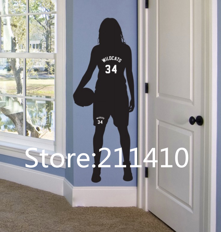 Superbe Personalized Name U0026 Number Basketball Wall Stickers Sport Room Decor Girls  Basketball Wall Art Decals Glasses Door Decor A268 In Wall Stickers From  Home ...