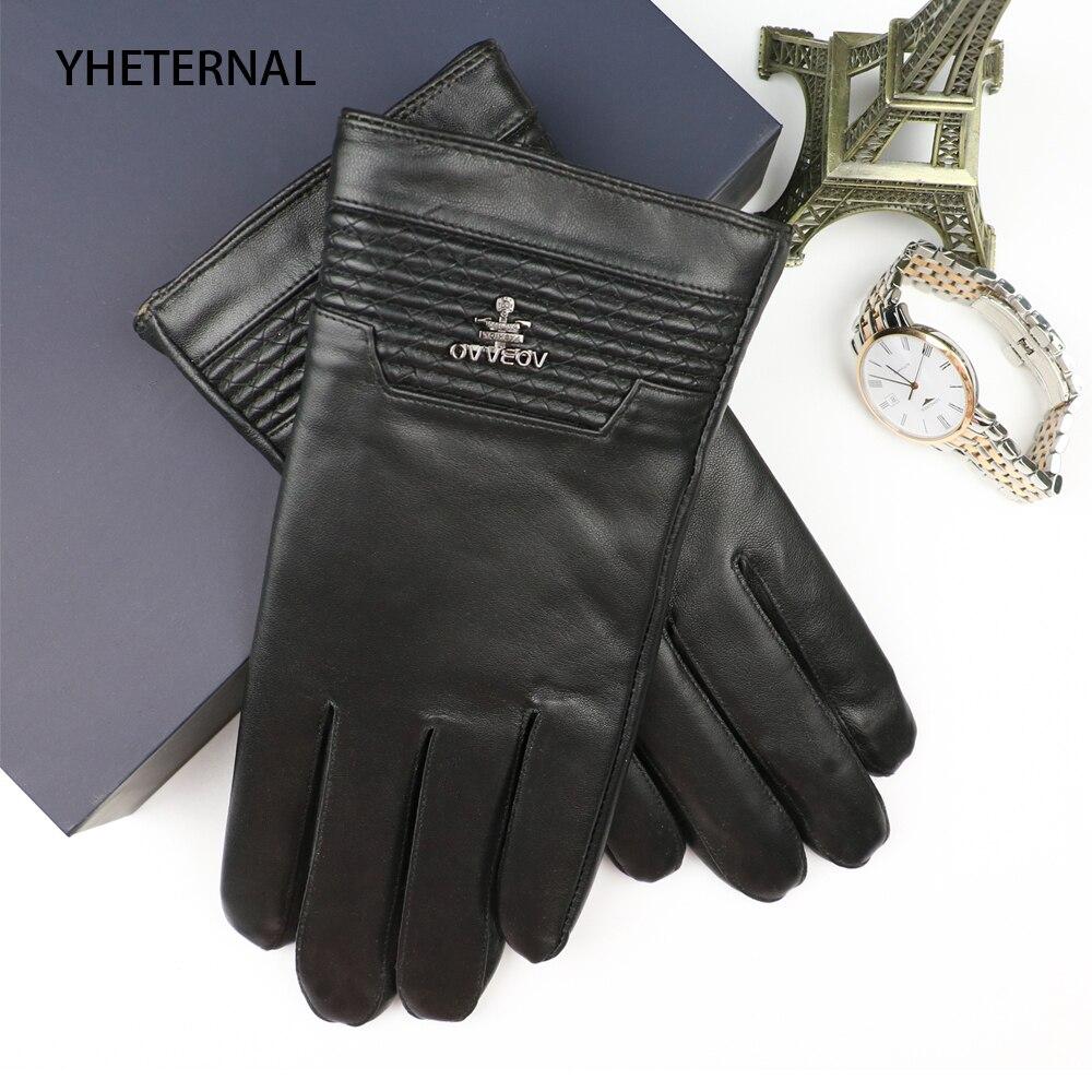 2018 nouveau haut de gamme hommes gants en cuir véritable mode solide poignet gants en peau de mouton écran tactile homme hiver chaleur conduite mitaines