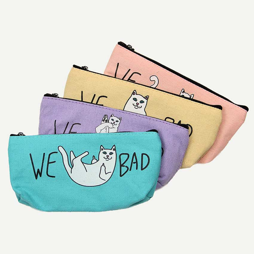 1PC <font><b>Big</b></font> Capacity Canvas <font><b>Pencil</b></font> <font><b>Case</b></font> Cute <font><b>Kawaii</b></font> Cat <font><b>Pencil</b></font> Bag <font><b>Pencil</b></font> Box Office <font><b>School</b></font> Supplies Stationery Gift image