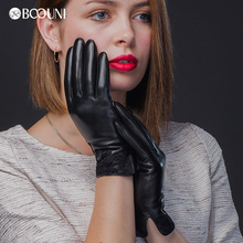 BOOUNI Genuine Leather Gloves High Quality Women Fashion Black Lace Embroidery Sheepskin Winter Driving Glove NW5079