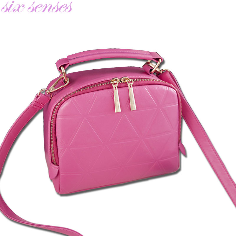 Six senses Fashion Women PU Leather Handbag High Quality Chain Shoulder Lady Messenger Bag Candy Color Crossbody Bags LL1123