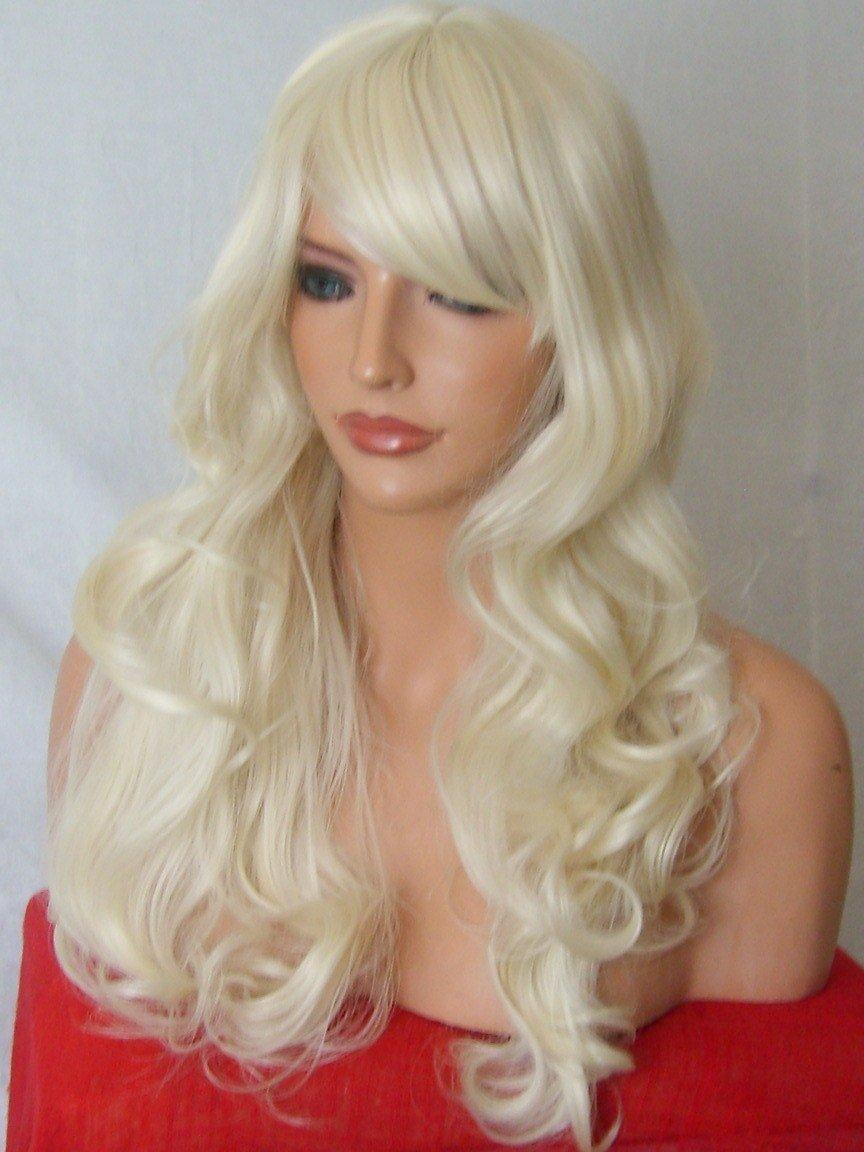 New Full Women Fashion Hair Wig Long Wavy Side Fringe Pale