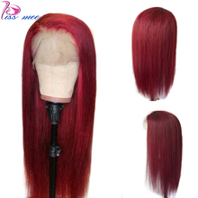 Kissmee 13*4 Red 99J Lace Front Human Hair Wig Burgundy Closure 10-30Inch Remy Brazilian Straight Frontal For Women