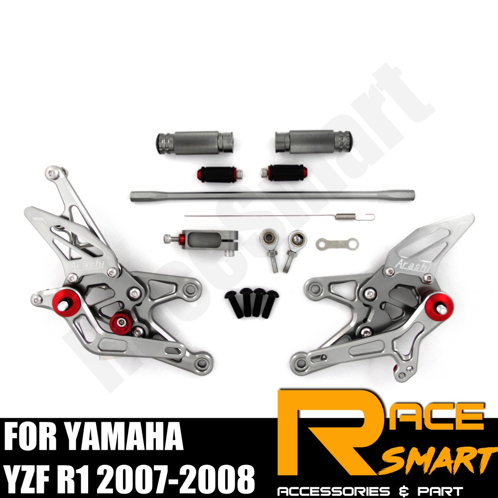FOR YAMAHA YZF R1 2007 2008 R-1 R 1 Rear Footrests Foot Rest Pegs Pedal Motorcycle Accessories CNC Adjustable Rearset FootPegs