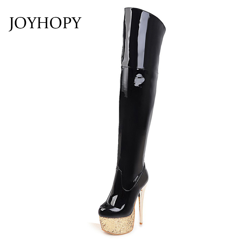 Sexy Patent Leather Thigh High Boots Women High Heels Platform Shoes Winter Party Nightclub Dance Over-The-Knee Boots With Plush women long boots stretch pu red black patent leather over the knee high sexy ladies party high heels platform shoes page 2