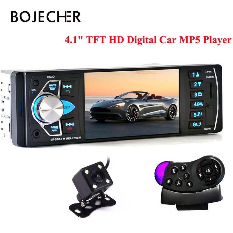4022D 1 Din Car MP5 Video Player Auto Radio Audio Stereo FM Bluetooth TFT Screen with Rear View Camera Steering-Wheel Control image
