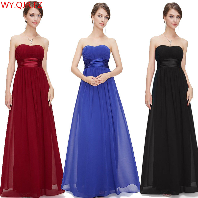 QNZL75# Wine Red Blue Black Long Strapless Bridesmaid Dresses Wedding Party Dress Prom Gown Wholesale Cheap Women Clothing China
