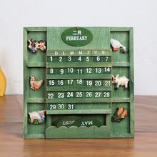 2018 Cartoon Kawaii Wooden Countryside DIY Animal Calendar Desktop Clendar Table Creative Christmas New Year Birthday Gift 00005