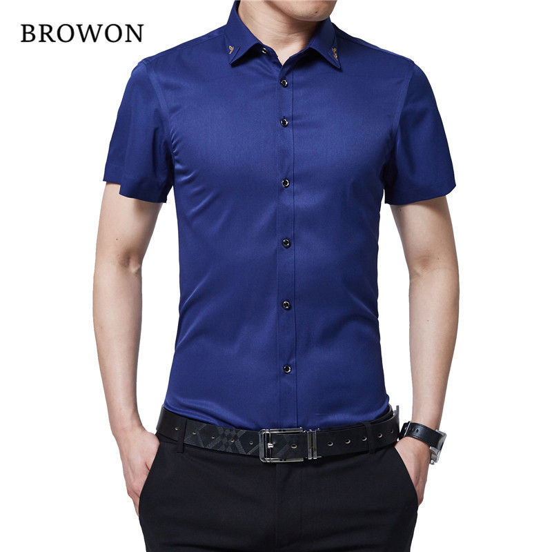 BROWON Brand New Summer Hommes Tuxedo Shirt Unicolore Turn Down - Vêtements pour hommes - Photo 4