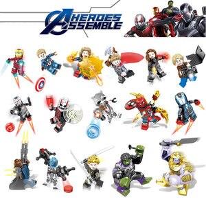 Image 3 - 16pcs Avengers Infinity War Figure Set Bricks Super Hero Iron Thor Thanos Peter Hulk Black Panther Building Blocks Model Toys
