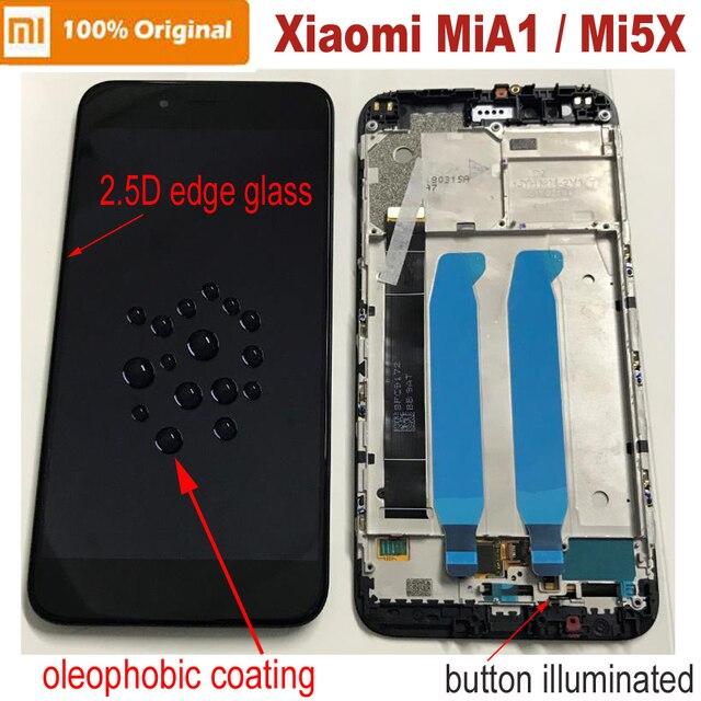 100% Original Neue Xiao mi mi A1 mi A1 2.5D Glas Sensor LCD Display 10 Touchscreen Digitizer Montage mit rahmen mi 5X mi 5X Panel