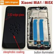 100% 원래 새로운 xiao mi mi a1 mi a1 2.5d 유리 센서 lcd 디스플레이 10 터치 스크린 디지타이저 어셈블리 프레임 mi 5x mi 5x 패널