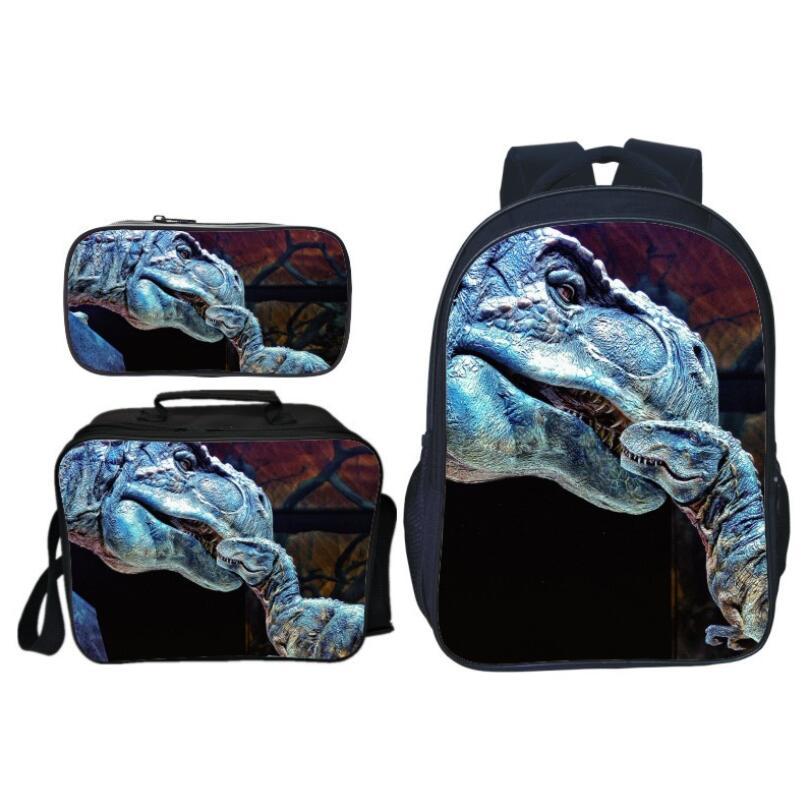 3Pcs/Set Hot Sale Animal Printing Jurassic World Kids School Bags Dinosaur Boys Backpack for Children Schoolbag for Girl Bookbag-in School Bags from Luggage & Bags    2