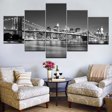 HD Prints 5 Piece Canvas Paintings Modular Frame Home Decor New York Moonscape Pictures Brooklyn Bridge Poster Wall Art Bedroom