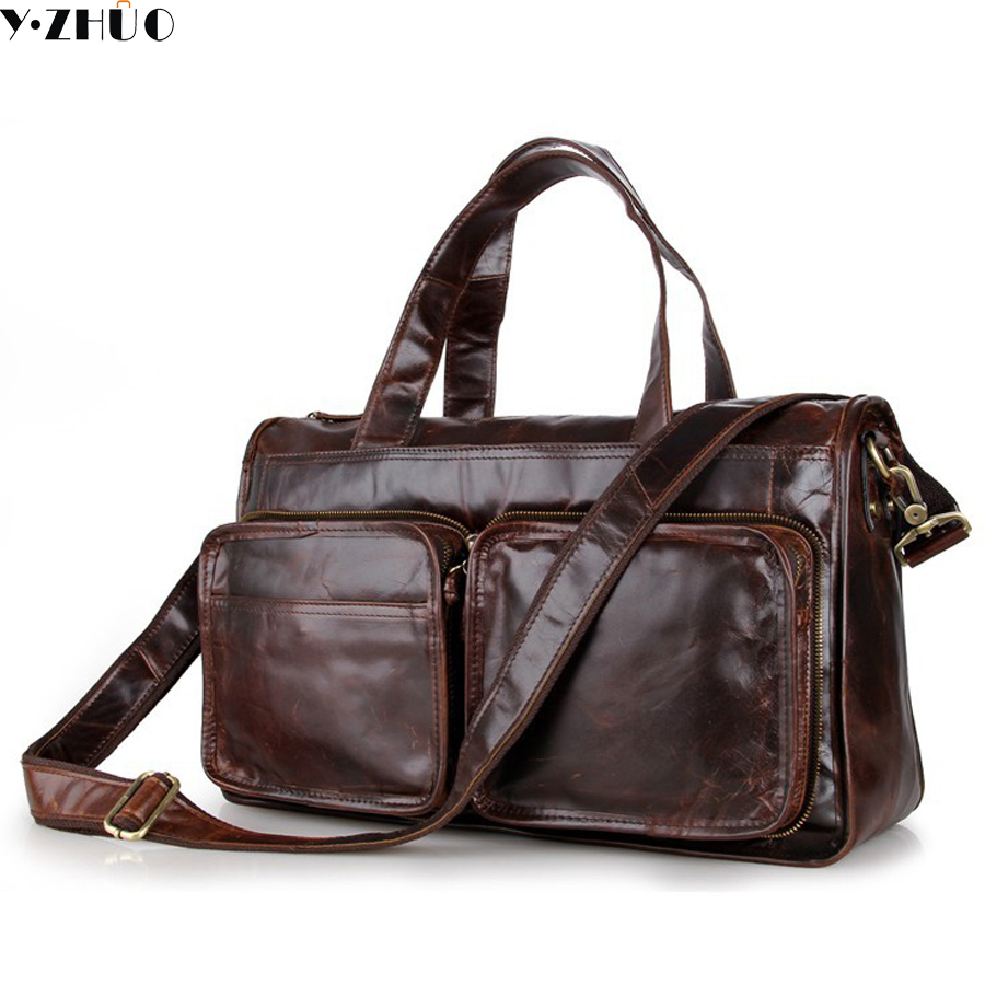 cowhide genuine leather mans bag large capacity men travel luggage bags vintage shoulder crossbody duffel bags handbags