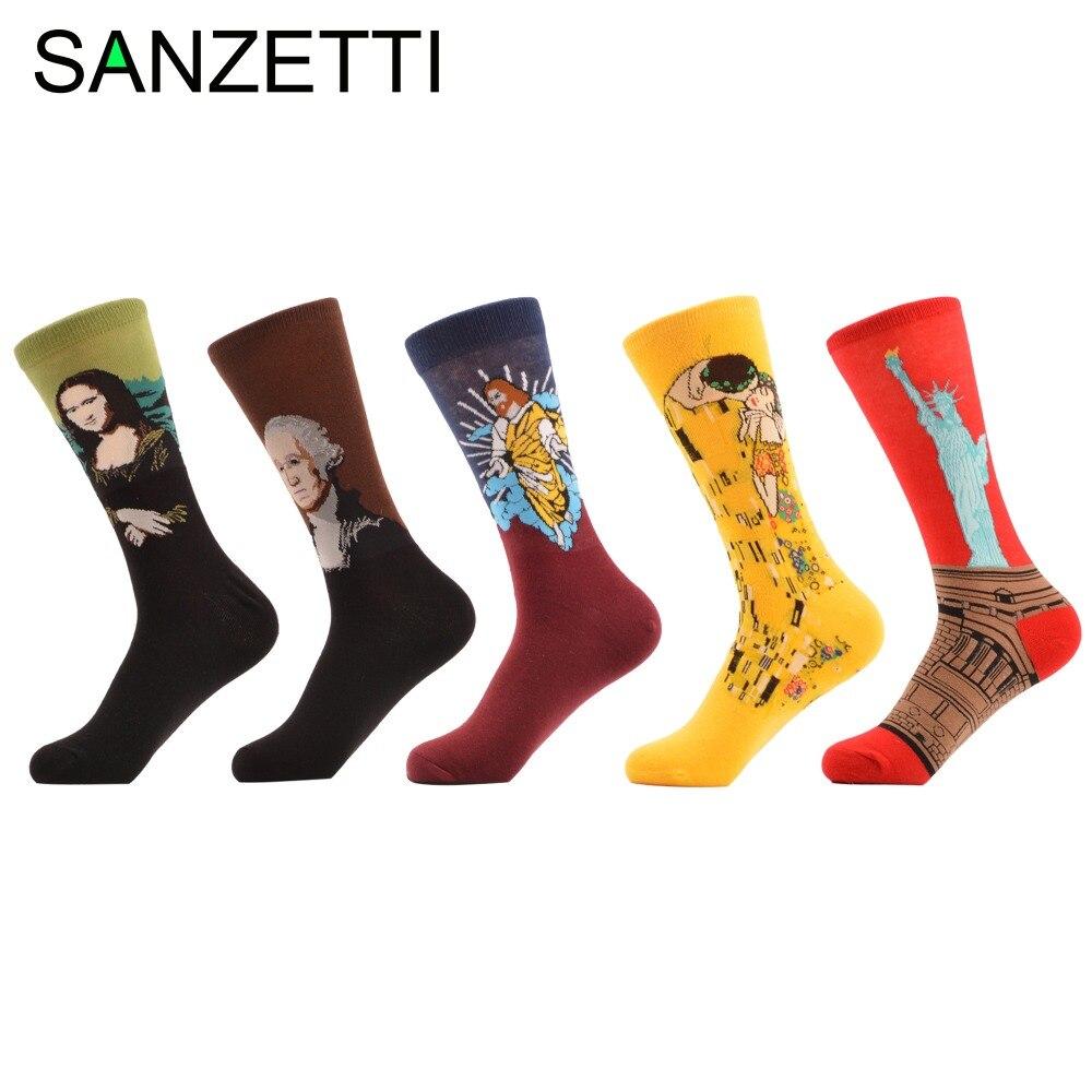 SANZETTI 5 pairs/lot Mens Funky Combed Cotton Socks Crazy Socks Retro Oil Painting Casuals Crew Socks Funny Dress Wedding Socks