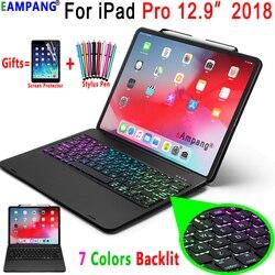 Voor Ipad Pro 12.9 2018 Toetsenbord Case A1876 A2014 A1895 A1983 7 Kleuren Backlit Bluetooth Toetsenbord Cover Funda Met Potlood slot