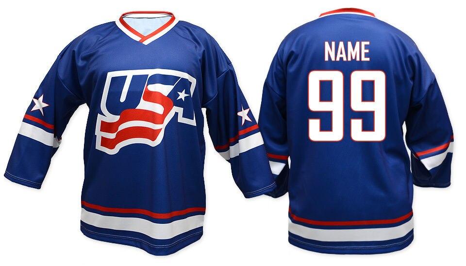Vintage Équipe USA Mens Hockey Jersey Broderie Piqué n'importe quel nombre et nom Maillots