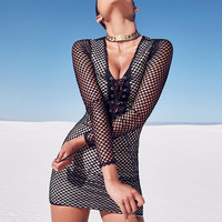 Mùa hè Long Sleeve Fishnet Dresses Phụ Nữ 2018 Phụ Nữ Bandage Bodycon Slim Fit Vestidos Đảng Cocktail Pencil Mini Dress Vestidos