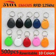 500 pçs 1000 peças em4305 t5577 duplicador cópia 125khz rfid tag cartão de controle acesso chave fob token anel proximidade clone