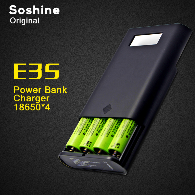 Soshine E3S Authentic Original Portable Power Bank and Battery Charger with Dual USB and LCD Display for 18650 Battery dual usb output universal thunder power bank portable external battery emergency charger 13000mah yb651 yoobao for electronics